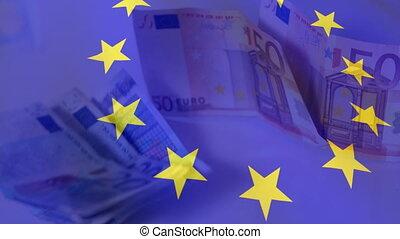 bandera, eu, dzioby, falować, euro, przeciw, spadanie