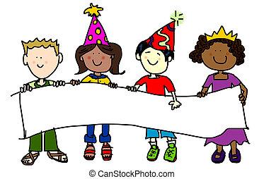 bandera, fiesta, niños, sombrero