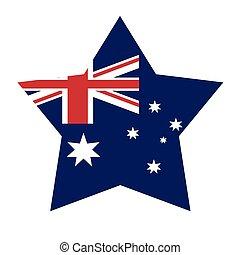 bandera, formułować, gwiazda, australijski, ikona