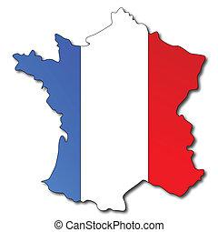 bandera francesa, en, un, mapa, de, francia