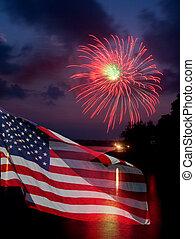 bandera, fuegos artificiales, norteamericano