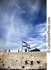 bandera, gemir, israel, y, pared
