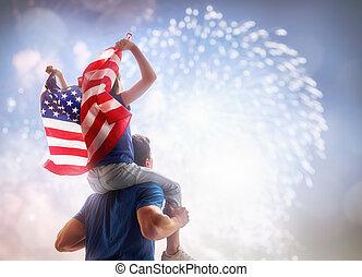 bandera, gente, tenencia, usa.