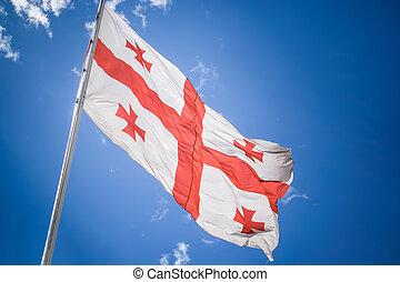 bandera georgia, debajo, el, cielo
