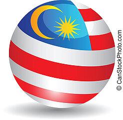 bandera, globo, malaysia.vector