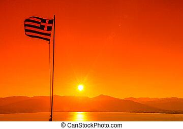 bandera grecia, en, ocaso