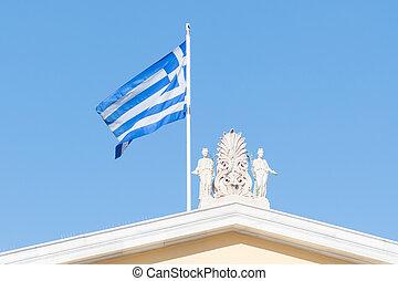 bandera griega, ondulación, debajo, cielo claro