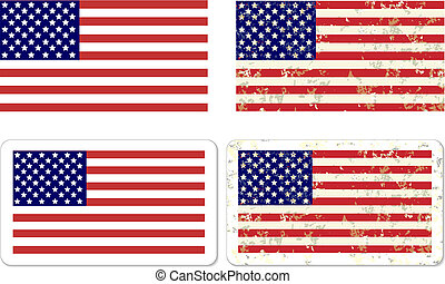 bandera, grunge, pegatina, estados unidos de américa