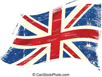 bandera, grunge, reino unido