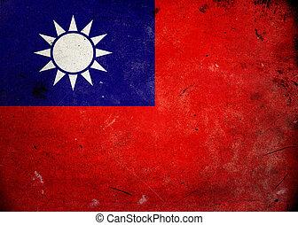 bandera, grunge, taiwán