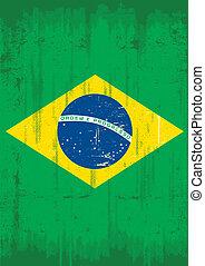 bandera, grunge, vertical, brasileño