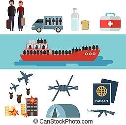 bandera, guerra, elements., vector., fondo., víctimas, concept., aislado, conjunto, caricatura, plano, design., illustration., iconos, carácter, azul, header., infographic, refugee., blanco