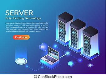 bandera, habitación, hosting, almacenamiento, tela, isométrico, tecnología, servidor