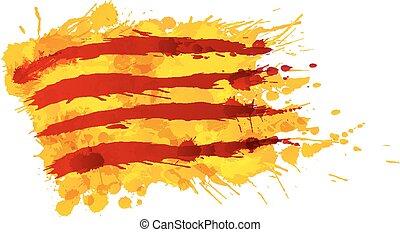 bandera, hecho, cataluña, salpicaduras, colorido
