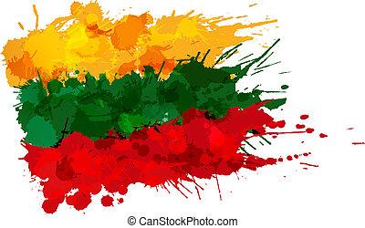 bandera, hecho, lituania, salpicaduras, colorido