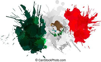 bandera, hecho, mexicano, salpicaduras, colorido