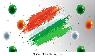 bandera, hel, niezależność, kolor, balony, indie, dzień
