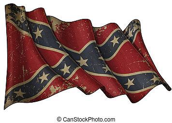 bandera, histórico, confederado, rebelde