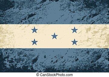 bandera honduras, grunge, fondo.
