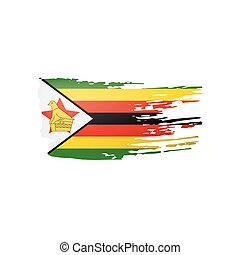 bandera, ilustración, fondo., zimbabwe, vector, blanco