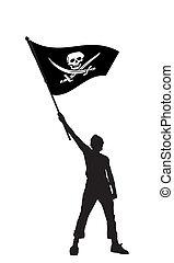 bandera, ilustración, vector, tenencia, pirata, hombre