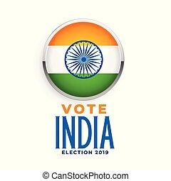 bandera, indio, 2019, elección, etiqueta