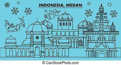 bandera, indonesia, navidad feliz, navidad, vector, adornado...