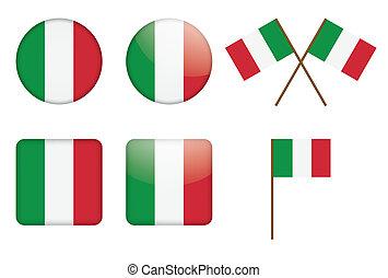 bandera, insignias, italiano