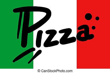 bandera, italia, pizza
