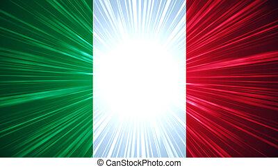 bandera italiana, con, rayos ligeros