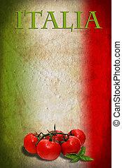 bandera italiana, con, tomates