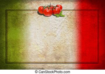 bandera italiana, con, tomates, y, marco