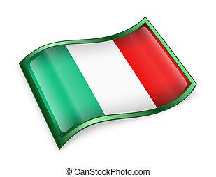 bandera italy, icono, aislado, blanco, plano de fondo