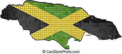 bandera jamaica, dentro, mapa