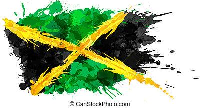 bandera jamaica, hecho, salpicaduras, colorido