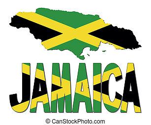 bandera jamaica, mapa, texto