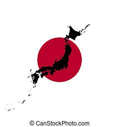 bandera japonesa, con, mapa, silueta, de, japón, ilustración