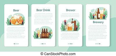 bandera, jarra, aplicación, móvil, vidrio, set., botella, cerveza, vendimia