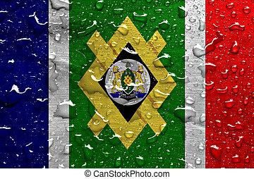 bandera, johannesburg, gotas de la lluvia