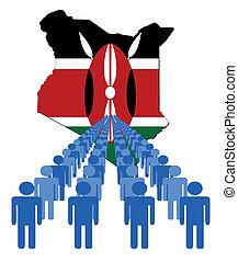 bandera kenia, gente, mapa