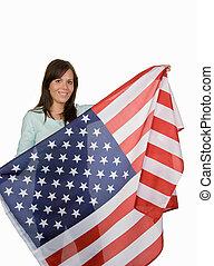 bandera, kobieta, młody