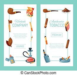 bandera, lighters., vector, tabaco, accesorios, ceniceros, cigarro, illustration., collection., cigarrillos, narguile, cigarros, tubos, hojas, fumar