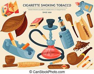 bandera, lighters., vector, tabaco, tabaco, accesorios, ceniceros, cigarrillos, illustration., cigarros, narguile, tubos, cigarro, hojas, fumar