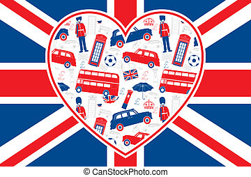 bandera, londyn, -, serce, brytyjski, ikony