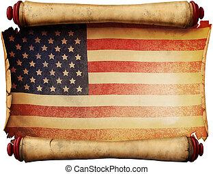 bandera, manuscrito, nosotros