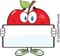 bandera, manzana, rojo, tenencia