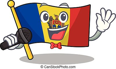 bandera, mascota, canto, moldova, carácter, caricatura