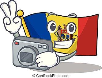 bandera, mascota, moldova, carácter, caricatura, fotógrafo