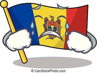 bandera, mascota, moldova, carácter, llanto, caricatura