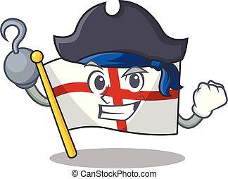 bandera, maskotka, anglia, odizolowany, pirat